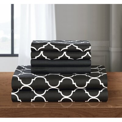 Hackett Sheet Set Size: Queen, Color: Black