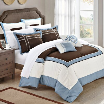 Ballroom 7 Piece Comforter Set Color: Blue/Brown/White, Size: Queen