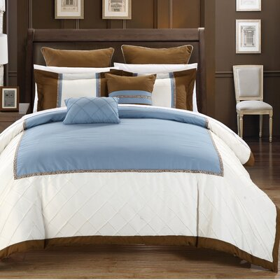 Greensville 11 Piece Comforter Set Size: Queen, Color: Blue/White/Brown