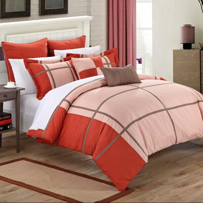 Regency 7 Piece Comforter Set Size: King, Color: Red/Pink