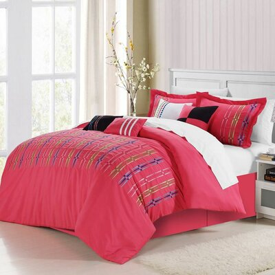 Swimmy 12 Piece Comforter Set Size: King, Color: Fuchsia
