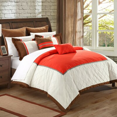 Greensville 11 Piece Comforter Set Size: Queen, Color: Red/White/Brown
