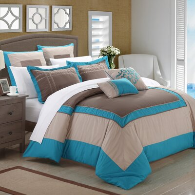 Ballroom 7 Piece Comforter Set Size: Queen, Color: Teal/Brown/Gray
