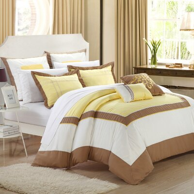Ballroom 7 Piece Comforter Set Size: King, Color: Yellow/Brown/White