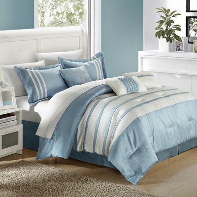 Torino Pleated Piecing 7 Piece Comforter Set Size: King, Color: Blue