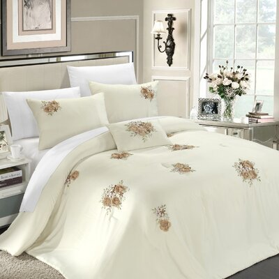 Rosetta 5 Piece Comforter Set Size: Queen, Color: Beige