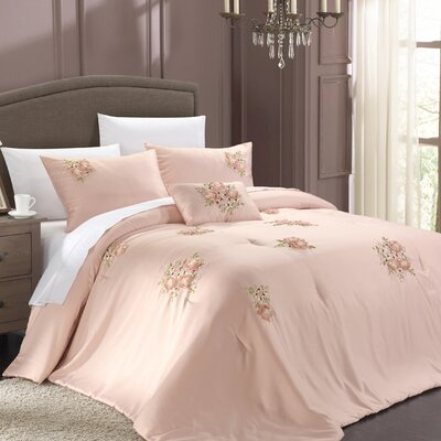 Rosetta 5 Piece Comforter Set Color: Pink, Size: Queen