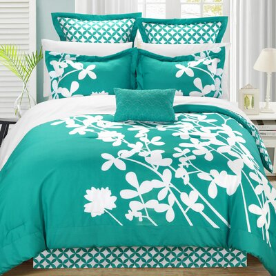Iris 7 Piece Comforter Set Color: Turquoise, Size: Queen