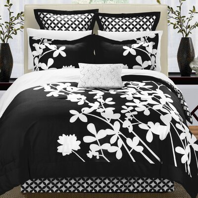 Iris 7 Piece Comforter Set Size: King, Color: Black