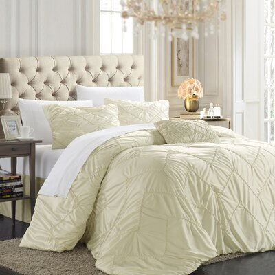 Aliza 9 Piece Comforter Set Color: Beige, Size: Queen