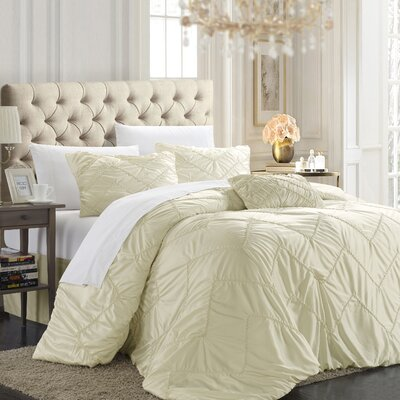 Cadmore 8 Piece Duvet Cover Set Size: King, Color: Beige