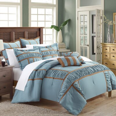 Tuscan 11 Piece Comforter Set Size: King, Color: Blue