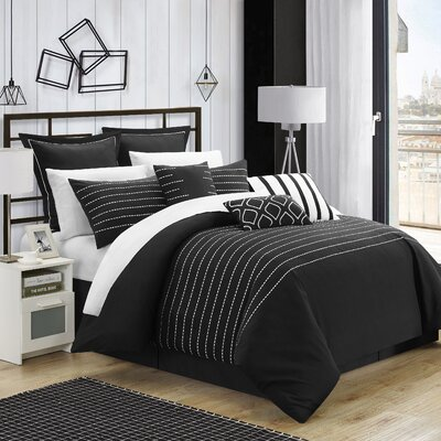 Tellier 9 Piece Comforter Set Size: Queen, Color: Black