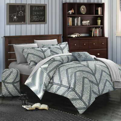 Laredo 10 Piece Full Comforter Set Color: Grey