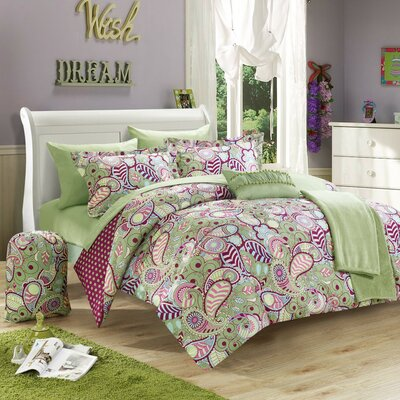 Princess 10 Piece Reversible Comforter Set Color: Green, Size: Full