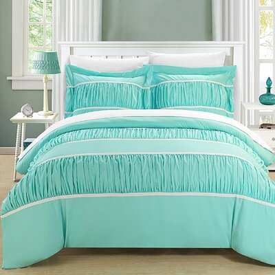 Betsy 3 Piece Duvet Cover Set Size: Queen, Color: Aqua