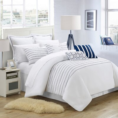 Tellier 13 Piece Comforter Set Color: White / Navy, Size: Queen