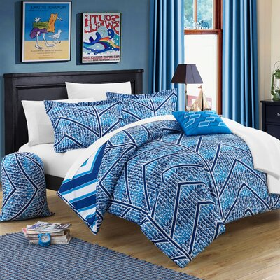 Laredo 8 Piece Twin XL Comforter Set Color: Navy