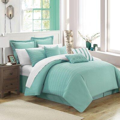 Tellier 9 Piece Comforter Set Size: Queen, Color: Blue