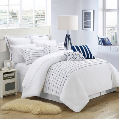 Tellier 9 Piece Comforter Set Color: White / Navy, Size: Queen