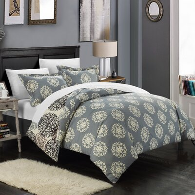 Jerome Boho Inspired 7 Piece Reversible Duvet Set Size: King, Color: Beige