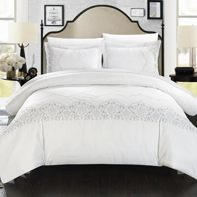 Sophia Embroidered Bridal 7 Piece Duvet Cover Set Size: King