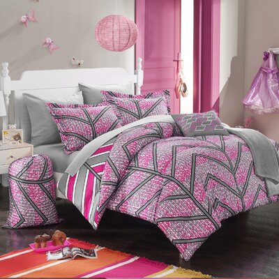 Laredo 8 Piece Twin XL Comforter Set Color: Fuchsia