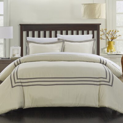 Paige Modern Hotel 3 Piece Reversible Duvet Set Size: King, Color: Silver