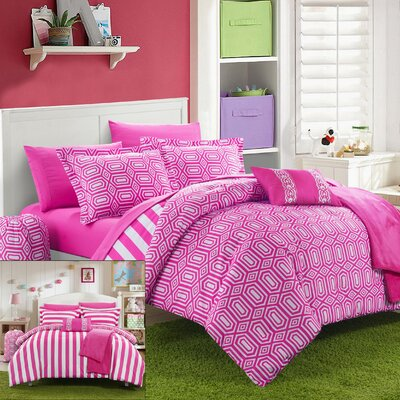 Paris 8 Piece Twin XL Comforter Set Color: Fuchsia
