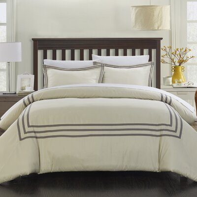 Paige Modern Hotel 7 Piece Reversible Duvet Cover Set Size: King, Color: Silver