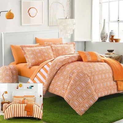 Paris 8 Piece Twin XL Comforter Set Color: Orange