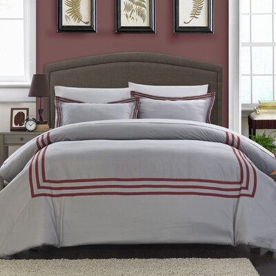 Paige Modern Hotel 3 Piece Reversible Duvet Set Size: King, Color: Red