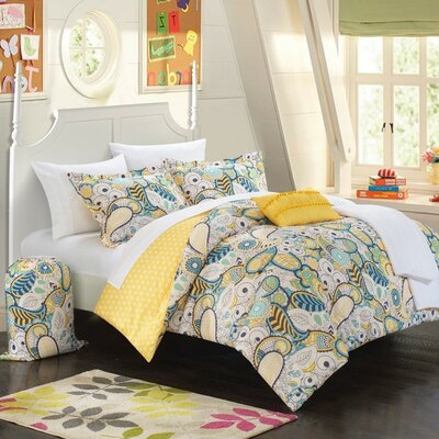 Princess 10 Piece Reversible Comforter Set Color: Yellow, Size: Twin XL