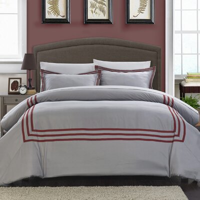 Paige Modern Hotel 7 Piece Reversible Duvet Cover Set Size: King, Color: Red
