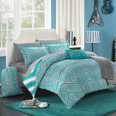 Laredo 10 Piece Full Comforter Set Color: Aqua