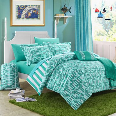 Paris 10 Piece Full Comforter Set Color: Aqua
