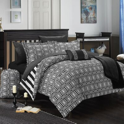 Paris 10 Piece Full Comforter Set Color: Black