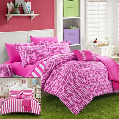 Paris 10 Piece Full Comforter Set Color: Fuchsia