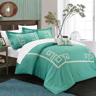 Royalton 3 Piece Duvet Cover Set Color: Aqua, Size: King