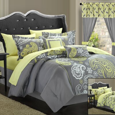 Olivia 20 Piece Reversible Comforter Set Color: Grey / Light Yellow, Size: Queen