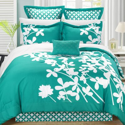 Iris 11 Piece Comforter Set Color: Turquoise, Size: Queen