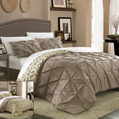 Talia Pleated Pintuck 7 Piece Reversible Duvet Cover Set Size: King, Color: Taupe