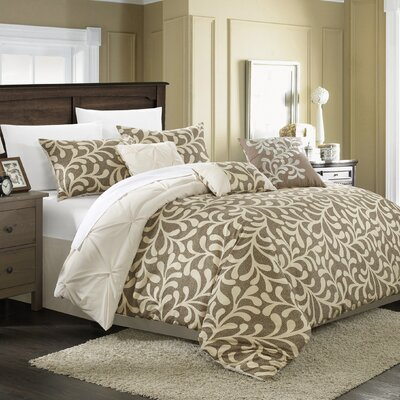 Trenton 11 Piece Reversible Comforter Set Size: King, Color: Beige