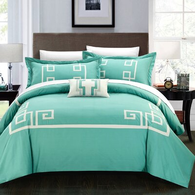 Royalton 7 Piece Duvet Cover Set Color: Aqua, Size: Queen