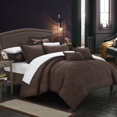 Donna 7 Piece Comforter Set Size: King, Color: Brown