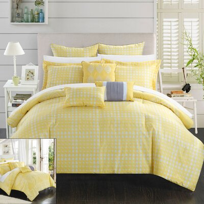 Sicily 8 Piece Reversible Comforter Set Size: King, Color: Yellow