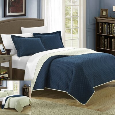 Teresa 3 Piece Twin Quilt Set Color: Navy