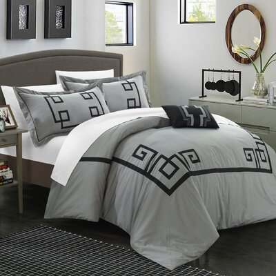 Royalton 3 Piece Duvet Cover Set Size: King, Color: Gray