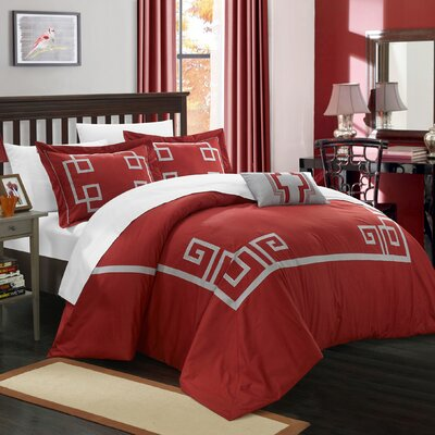 Royalton 3 Piece Duvet Cover Set Size: Queen, Color: Burgundy