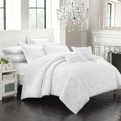 Donna 11 Piece Comforter Set Size: Full/Queen, Color: White